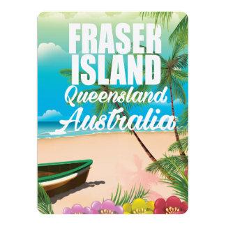 """Poster del viaje de la isla de Queensland Fraser Invitación 6.5"""" X 8.75"""""""