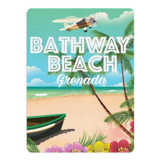 """Poster del viaje de la playa de Grenada Bathway Invitación 6.5"""" X 8.75"""""""