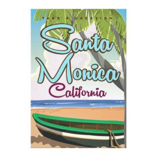Poster del viaje de la playa de Santa Mónica Impresión En Lienzo Estirada
