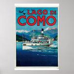 Poster del viaje de Lago Di Como Vintage Póster