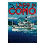 Poster del viaje de Lago Di Como Vintage Tarjetón