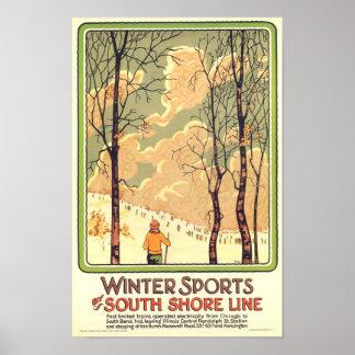 Poster del viaje de los deportes de invierno del v