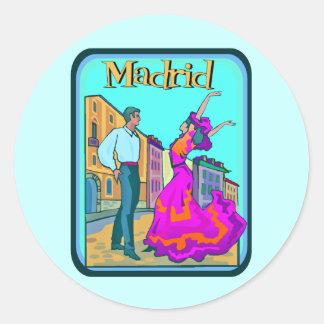 Poster del viaje de Madrid Pegatina Redonda