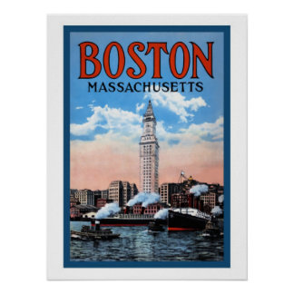 Poster del viaje de Massachusetts del puerto de