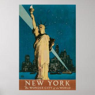 Poster del viaje de Nueva York del vintage