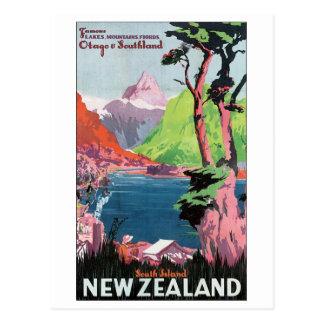 Poster del viaje de Nueva Zelanda de la isla del s Tarjetas Postales