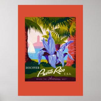 Poster del viaje de Puerto Rico del vintage