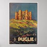 Poster del viaje de Puglie Castel del Monte Vintag