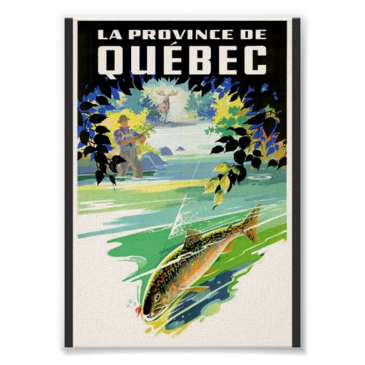 Poster del viaje de Quebec del pescador y de la tr Póster