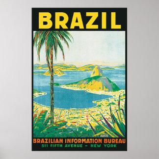Poster del viaje de Río el Brasil del vintage