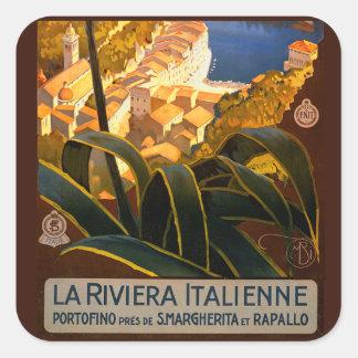 Poster del viaje de Riviera Europa Italia del Pegatina Cuadrada
