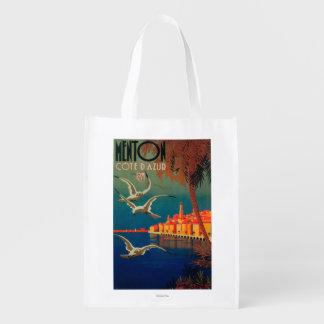 Poster del viaje de riviera francesa # 1 bolsas reutilizables
