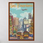 Poster del viaje de San Francisco - calle de Calif