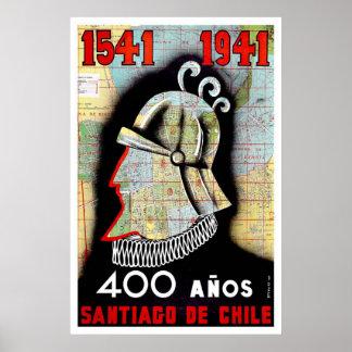Poster del viaje de Santiago Chile del vintage