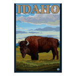 Poster del viaje de SceneIdahoVintage del bisonte
