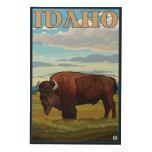 Poster del viaje de SceneIdahoVintage del bisonte Cuadros De Madera