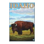 Poster del viaje de SceneIdahoVintage del bisonte Lienzo Envuelto Para Galerías