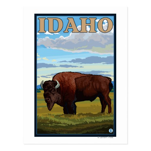 Poster del viaje de SceneIdahoVintage del bisonte Postales