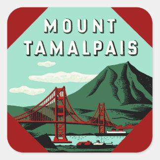Poster del viaje de Tamalpais del soporte Calcomanía Cuadradas Personalizada