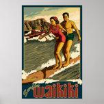 Poster del viaje de Waikiki que practica surf - de