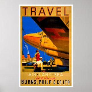 Poster del viaje del aire, del mar y de la tierra