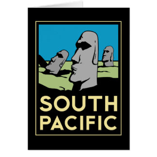 Poster del viaje del art déco de South Pacific Tarjetas