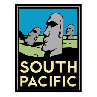 Poster del viaje del art déco de South Pacific Tarjeta Postal