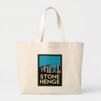 Poster del viaje del art déco de Stonehenge Bolsa De Mano