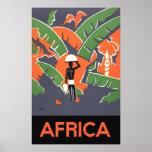 Poster del viaje del art déco del vintage, selva póster