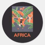 Poster del viaje del art déco del vintage, selva pegatina redonda