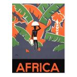 Poster del viaje del art déco del vintage, selva postal