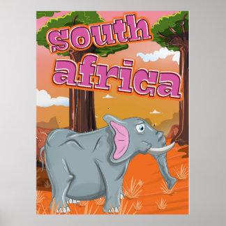 Poster del viaje del dibujo animado de Suráfrica