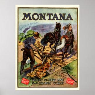 Poster del viaje del ferrocarril de Montana