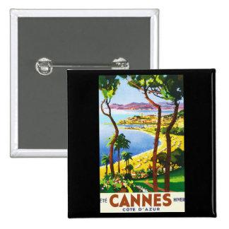 Poster del viaje del francés de Cannes Cote d'Azur Pin Cuadrado