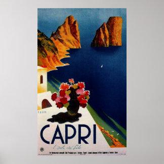 Poster del viaje del francés de Capri del vintage
