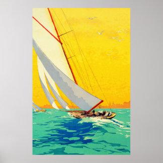 Poster del viaje del francés de los barcos de vela