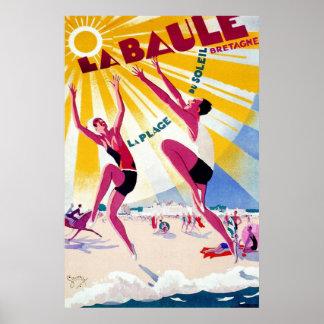 Poster del viaje del francés del vintage de La Ba