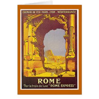 """Poster del viaje del francés del vintage de """"Roma"""" Tarjeta De Felicitación"""