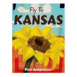 Poster del viaje del girasol del vintage de Kansas Postal