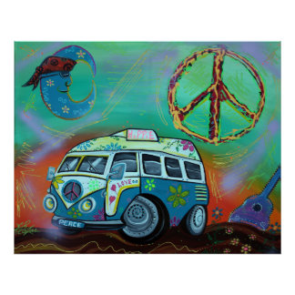 Poster del viaje del Hippie Póster