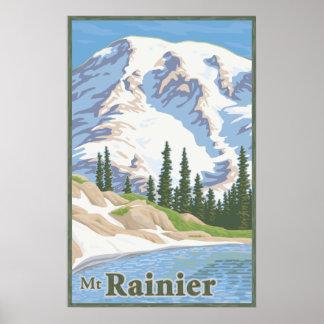Poster del viaje del Monte Rainier del vintage