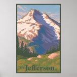 Poster del viaje del Mt. Jefferson del vintage