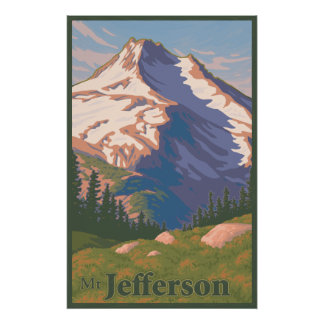 Poster del viaje del Mt Jefferson del vintage