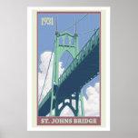 Poster del viaje del puente de St Johns del vintag