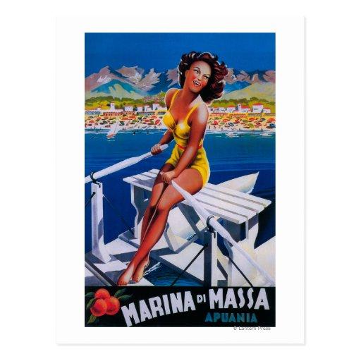 Poster del viaje del puerto deportivo de Massa Tarjeta Postal