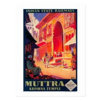 Poster del viaje del templo de Muttra Krishna Postales