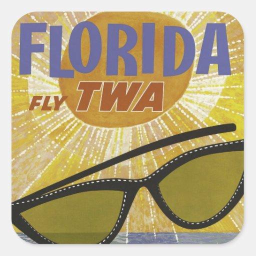 Poster del viaje del TWA de la mosca de la Florida Pegatina Cuadrada