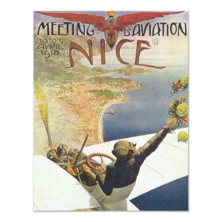Poster del viaje del vintage, aeroplano invitación 10,8 x 13,9 cm