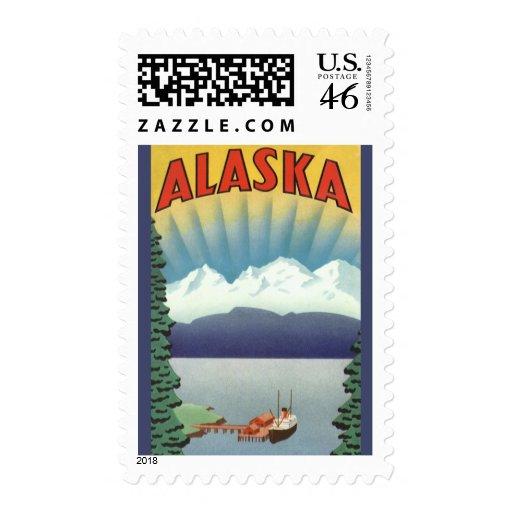 Poster del viaje del vintage, Alaska Sellos