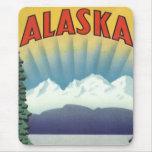 Poster del viaje del vintage, Alaska Tapete De Ratón